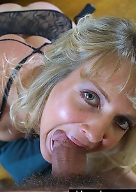 Horny granny deepthroats big dick