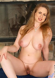 Extremely busty housewife teases her eager cougar pussy with an ice cube