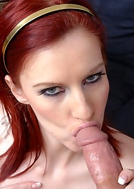 Fiery redhead gets all hot and horny for this young stud