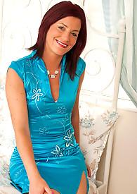Elegant Anilos Sofia Matthews crawls into bed wearing a hot dress